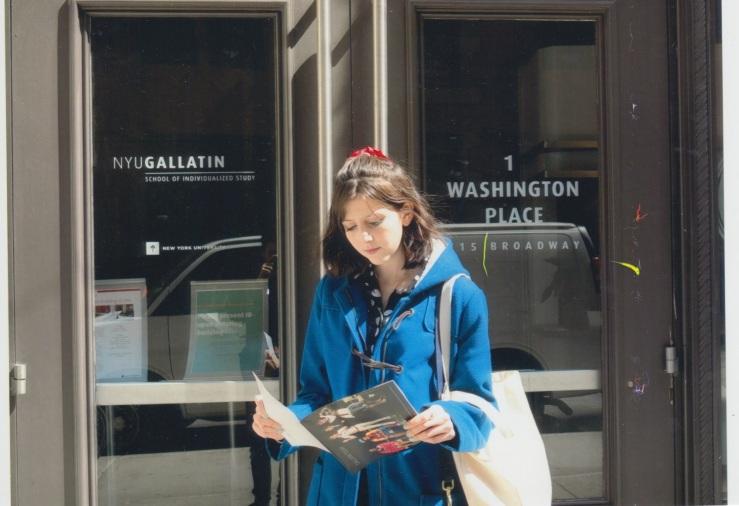 Pretending to look studious outside NYU